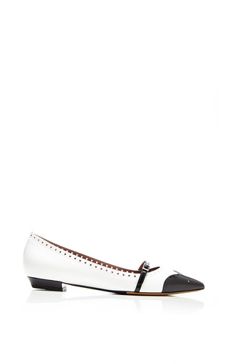 Medium tabitha simmons black belfy flat in white black spazz