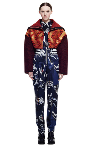 Metallic Broken Floor Boiled Wool Jacket by KENZO for Preorder on Moda Operandi