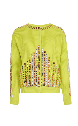 Medium kenzo lime green metallic embroidery on ribbed stitch wool jacket