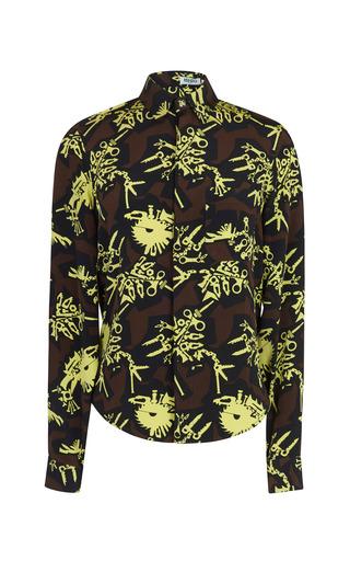 Medium kenzo print silk crepe de chine monster shirt