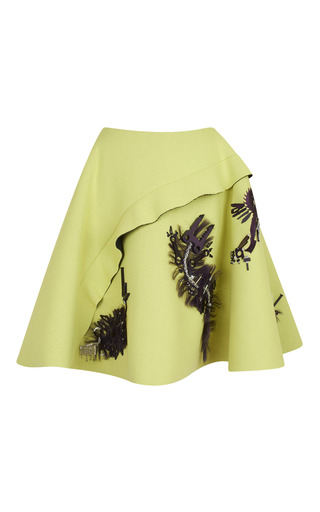 Medium kenzo print double face jersey crepe skirt with embroidery