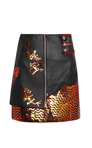 Medium kenzo multi embroidered calf leather skirt