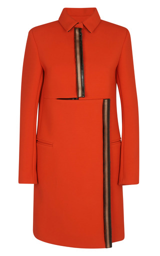 Medium kenzo red double faced textured crepe coat