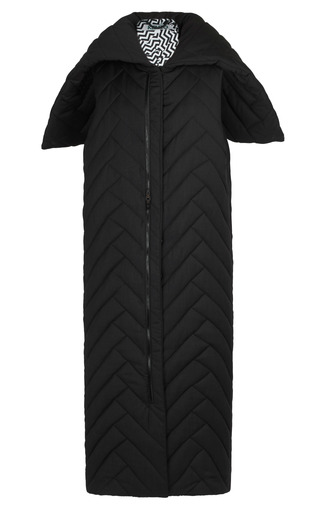 Medium kenzo black quilted wool coat