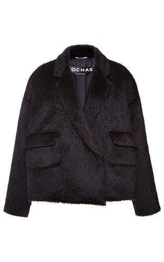 Medium rochas black black alpaca oversize jacket