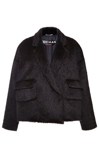 Medium rochas black black alpaca oversize jacket