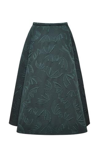 Medium rochas green bottle green bat jacquard skirt