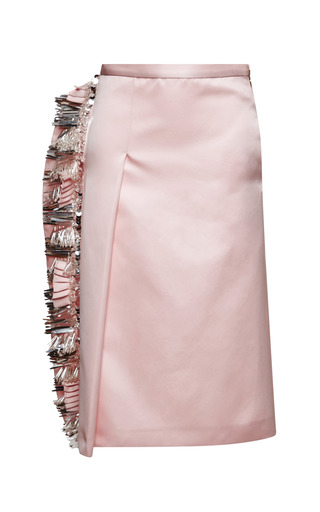 Medium rochas pink pink duchesse skirt with fringe embroidery