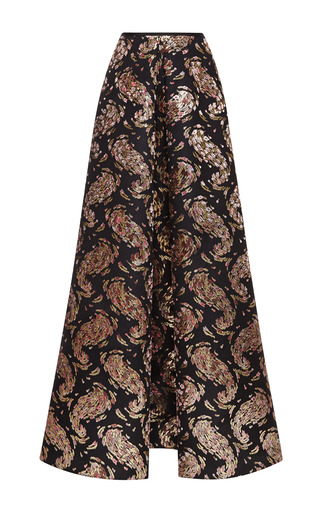 Medium rochas black hand painted flowers long skirt