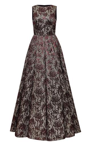 Medium rochas dark grey stretch floral brocade jacquard gown