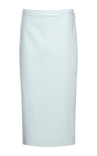 Medium rochas blue pale blue lacquered leather pencil skirt