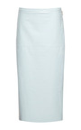 Pale Blue Lacquered Leather Pencil Skirt by ROCHAS for Preorder on Moda Operandi