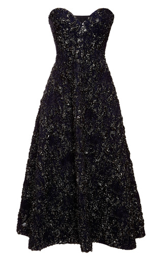 Medium rochas black stretch floral brocade jacquard bustier dress