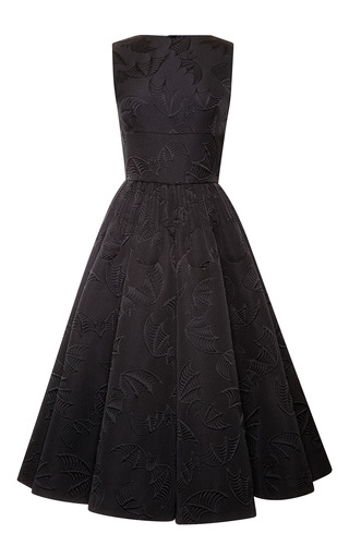 Medium rochas black black bat jacquard party dress