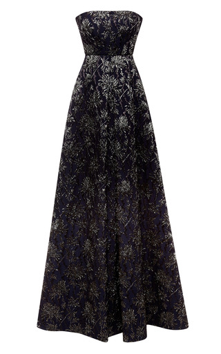 Medium rochas black strapless stretch floral brocade jacquard gown