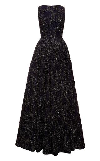 Medium rochas black midnight stretch floral brocade jacquard gown