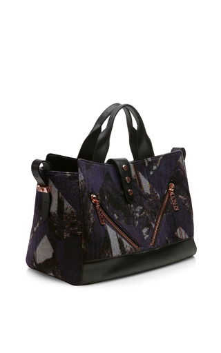Prune Bleu Wool And Nappa Tote by KENZO for Preorder on Moda Operandi