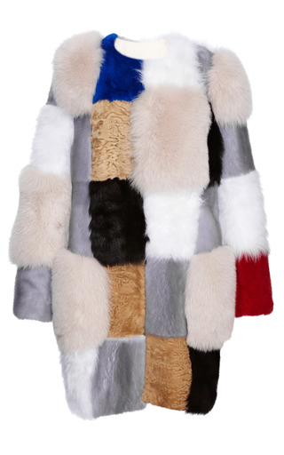 Medium roksanda ilincic ivory sandblack patchwork fur coat