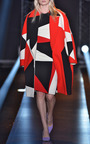 Red Intarsia Wool Crepe Coat by FAUSTO PUGLISI for Preorder on Moda Operandi
