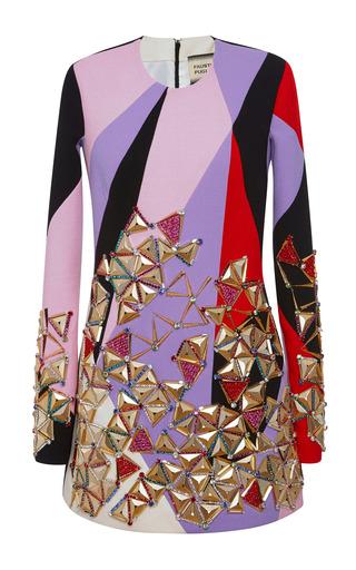 Medium fausto puglisi multi multicolor embellished long sleeve mini dress
