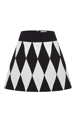 Medium fausto puglisi black harlequin wool crepe mini skirt