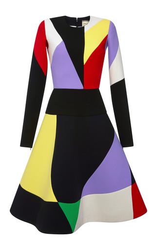Medium fausto puglisi multi multicolor crepe long sleeve dress