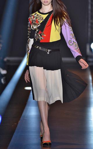 Bicolor Plisse Skirt by FAUSTO PUGLISI for Preorder on Moda Operandi