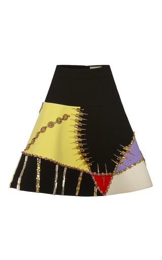 Medium fausto puglisi black ufo embroidered wool crepe skirt