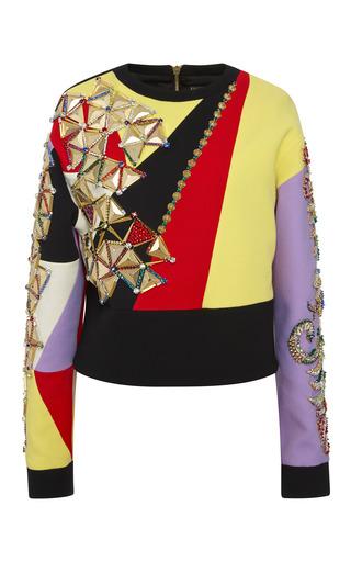 Medium fausto puglisi multi embellished multicolor intarsia top