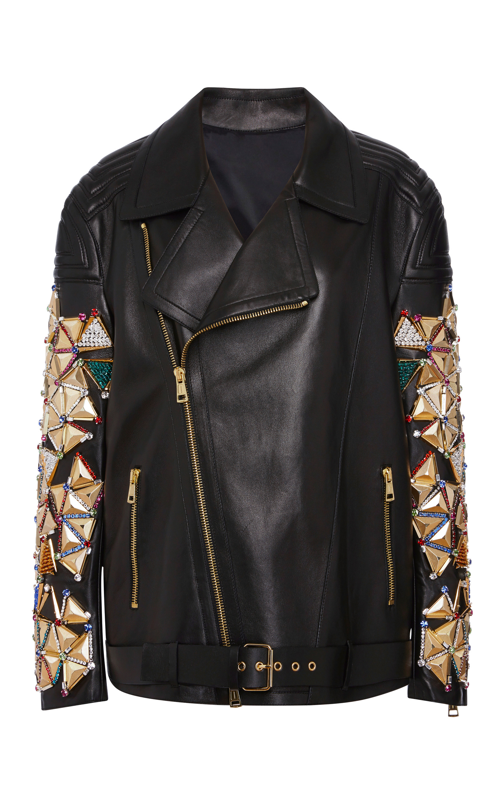 modern and elegant in fashion great deals buying cheap Harlequin Embellished Leather Biker Jacket