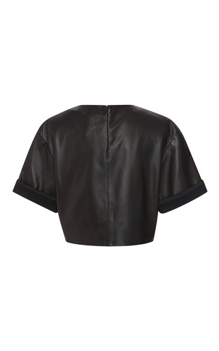 Black Leather Crop Top by FAUSTO PUGLISI for Preorder on Moda Operandi