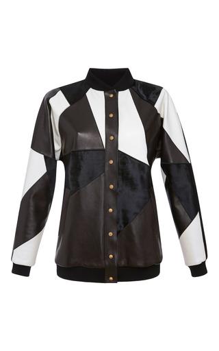 Medium fausto puglisi white leather bomber jacket