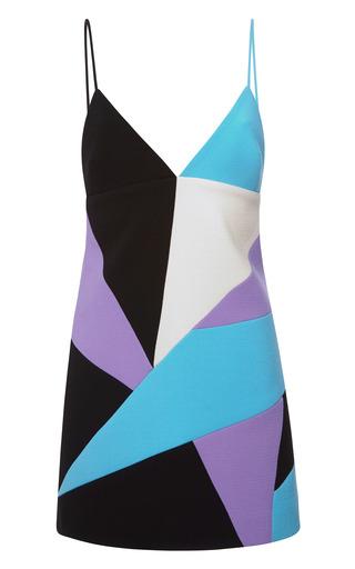 Medium fausto puglisi blue wool crepe intarsia bikini dress