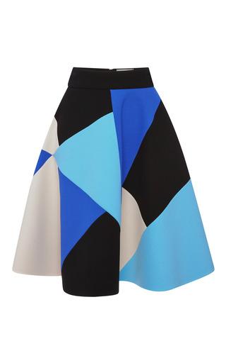 Medium fausto puglisi blue wool crepe intarsia a line skirt