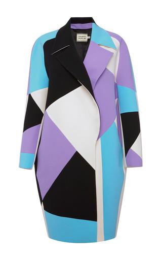 Medium fausto puglisi multi purple intarsia wool crepe coat