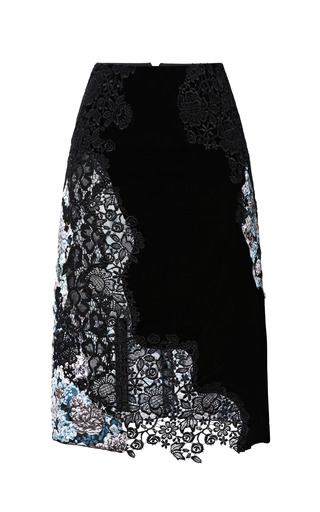 Medium nina ricci black velvet and lace skirt