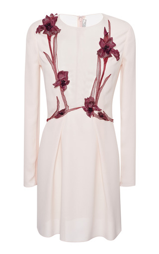 Medium nina ricci pink embroidered silk crepe dress