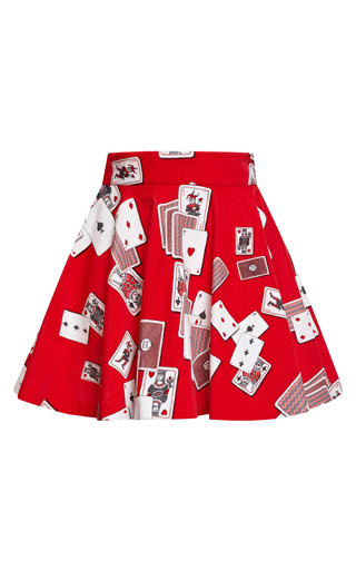 Medium olympia le tan red red dynamo playing cards velvet mini skirt