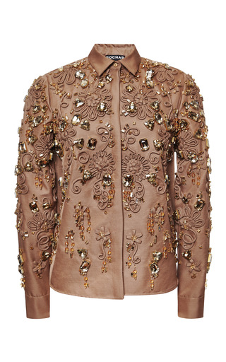 Medium rochas brown camel embroidered mikado shirt