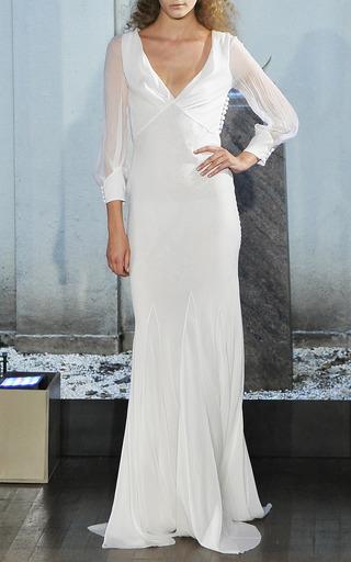 Medium alberta ferretti white chiffon long sleeve gown