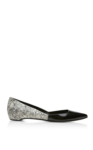 Medium pierre hardy white black and white shiny calf and snake scribble flat