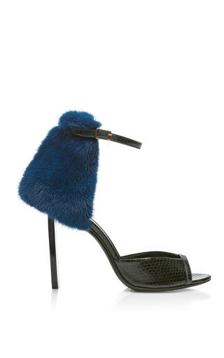 Medium pierre hardy green watersnake and blue mink sandal