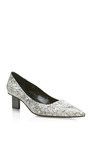 Black And White Snake Scribble Mid Heel Pump by PIERRE HARDY for Preorder on Moda Operandi