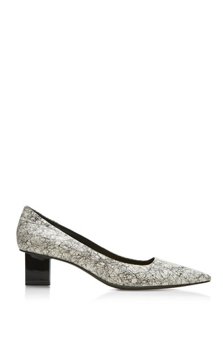 Medium pierre hardy white black and white snake scribble mid heel pump