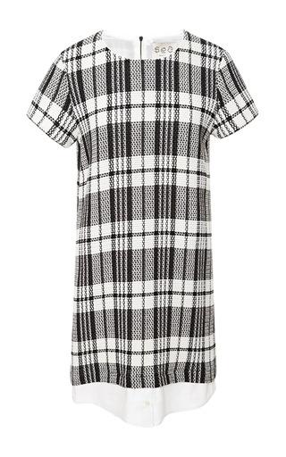 Medium sea black white woven stretch plaid shirt dress