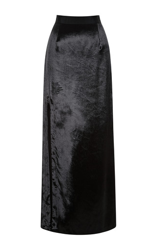 Medium sea black velvet long slit skirt
