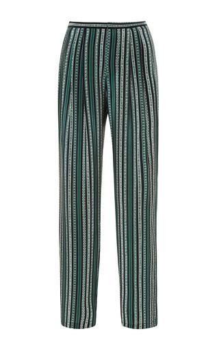 Medium sea green floral stripe pants