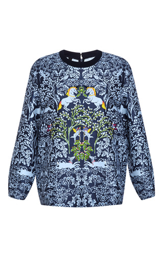 Medium mother of pearl blue dover embroidered unicorn sweatshirt