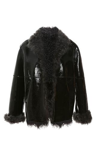 Medium christopher kane black patent leather bonded shearling jacket