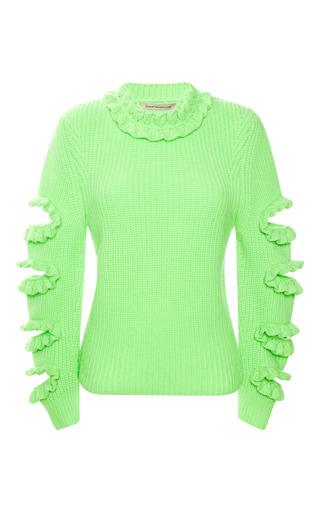 Medium christopher kane green neon chunky frill knit jumper